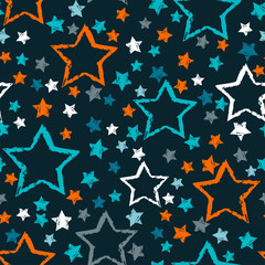 Tapeta abstract seamless stars pattern. Grunge urban stars background in black and white colors for girls, boys, childish, fashion and sport clothes. Silhouette stars repeated backdrop.