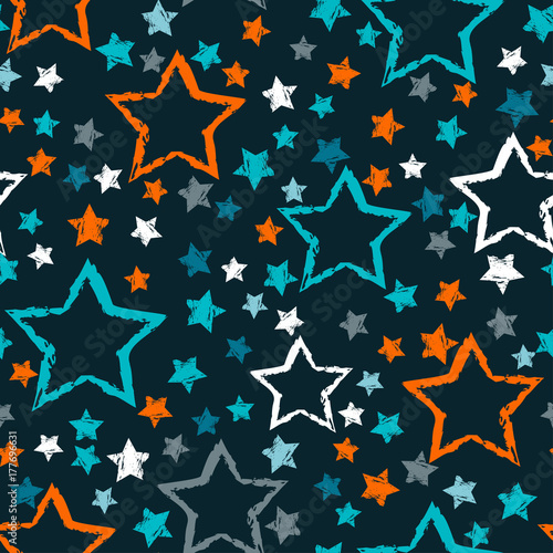 Cotton fabric abstract seamless stars pattern. Grunge urban stars background in black and white colors for girls, boys, childish, fashion and sport clothes. Silhouette stars repeated backdrop.