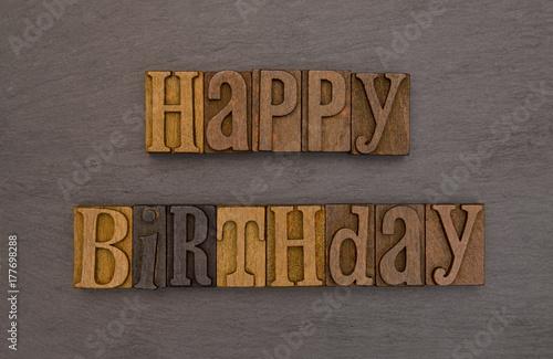 Photo  Happy Birthday Spelled in Type Set