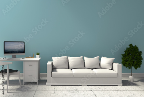 Fototapety, obrazy: 3D rendering of interior modern living room workspace with sofa, desk, laptop computer and green plants