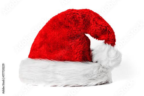 Fotografia  Rote kuschelige Weihnachtsmütze