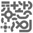 Street and road with footpaths and crossroads. Vector elements for city map
