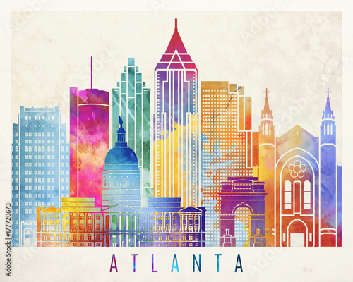 Pinturas sobre lienzo  Atlanta landmarks watercolor poster