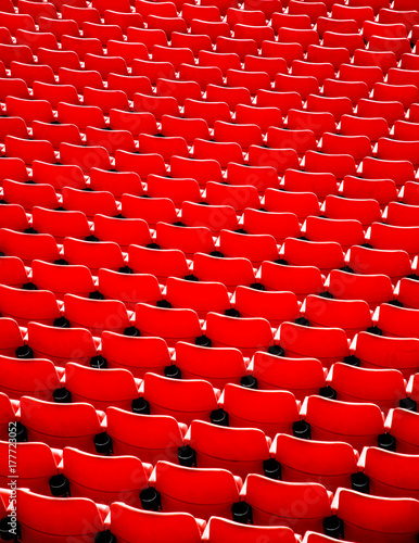 Photo  Red football stadium seat.