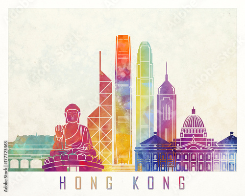 Photo  Hong Kong landmarks watercolor poster
