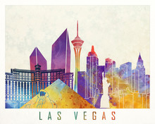 Las Vegas Landmarks Watercolor...