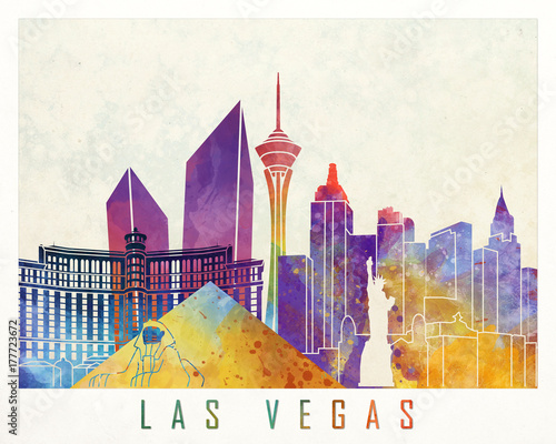 Photo  Las Vegas landmarks watercolor poster