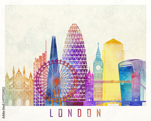 Valokuva  London landmarks watercolor poster