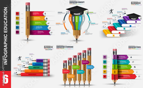 Photo  Education infographic elements data visualization vector design template