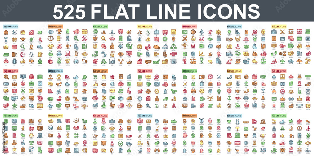 Fototapety, obrazy: Simple set of vector flat line icons. Contains such Icons as Business, Marketing, Shopping, Banking, E-commerce, SEO, Technology, Medical, Education, Web Development, and more. Linear pictogram pack.