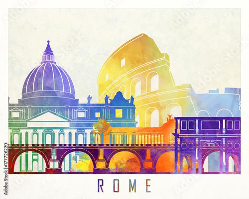 Fotografía  Rome landmarks watercolor poster