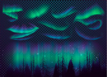 Night Sky, Aurora Borealis, Northern Lights Effect, Realistic Colored Polar Lights. Vector Illustration, Abstract Space Design For Aurora Borealis, Isolated On Transparent Background.