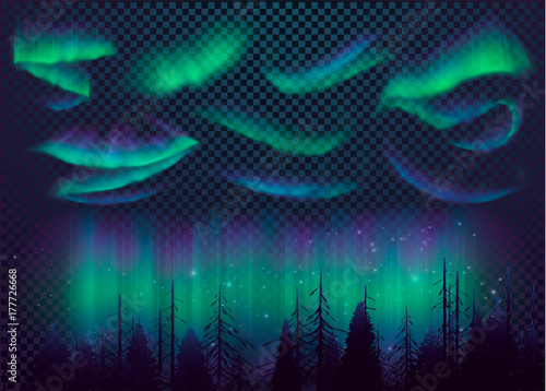 Photo Night Sky, Aurora Borealis, Northern Lights Effect, Realistic Colored polar lights