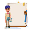 nerd boy with blank notebook for presentation - vector