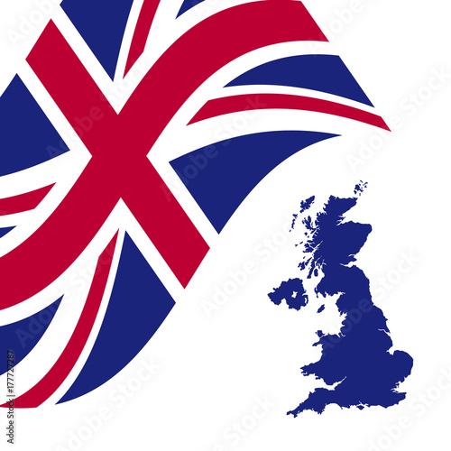 Plakat Wielka Brytania-flaga-mapa-wektor