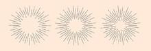 Set Of Light Rays, Sunburst And Rays Of Sun. Design Elements, Linear Drawing, Vintage Hipster Style. Set Light Rays Sunburst Different Size And Saturation On Light Backround. Vector Illustration
