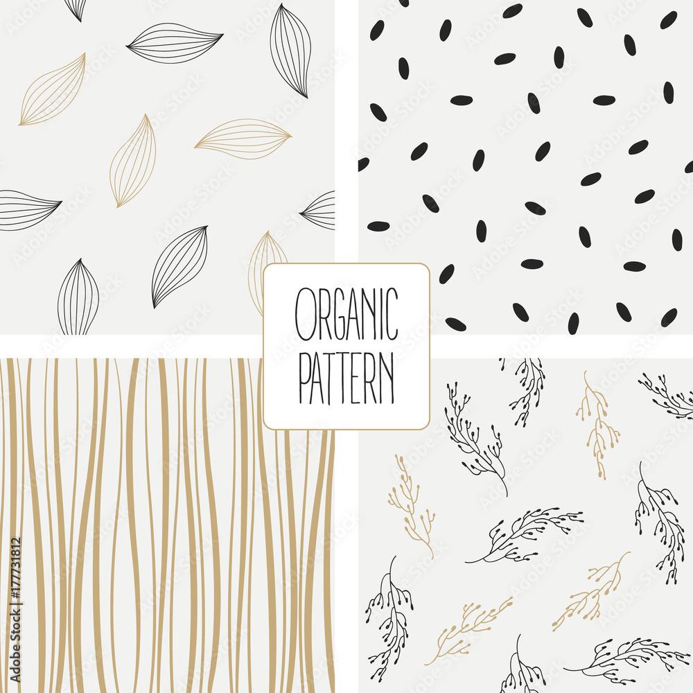 Fototapety, obrazy: Set organic pattern. Vector illustration