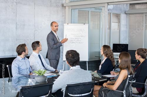 Obraz Leader briefing business people - fototapety do salonu