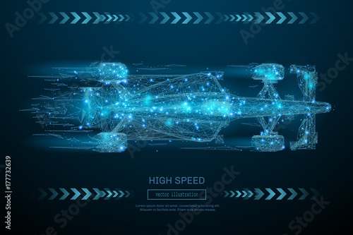 Poster F1 Low Poly wireframe F1 bolid car. High Speed concept. Vector bolide mesh spheres from flying debris. Thin line concept. Blue structure style illustration. Sport polygonal image