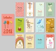 Calendar 2018. Cute Calendar With Funny Cartoon Animals