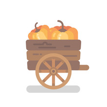Wooden Pumpkin Cart With Two P...
