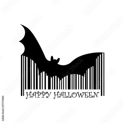 Codigo de barras Happy Halloween murcielago negro en fondo blanco ...