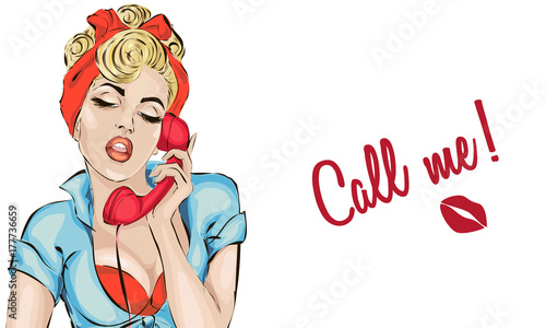 Sexy Pin-up woman answers the phone. Vector pop art comics retro style illustration