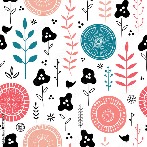 Colorful vector floral seamless pattern