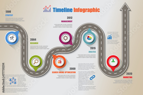 Photo  Business road map timeline infographic icons designed for abstract background te