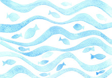 Watercolor Blue Wavy Pattern W...