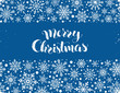 Happy holidays greeting card template. Modern winter lettering with snowflakes horizontal frame on blue background. Merry Christmas vector illustration with text.