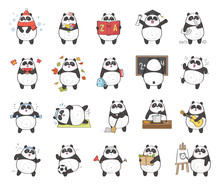 Set Of Cute Panda Character Wi...