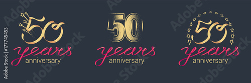 Papel de parede 50 years anniversary vector icon, logo set