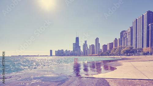 Obraz na płótnie Rocznik tonująca fotografia Chicagowski miasta nabrzeże przeciw słońcu, usa.