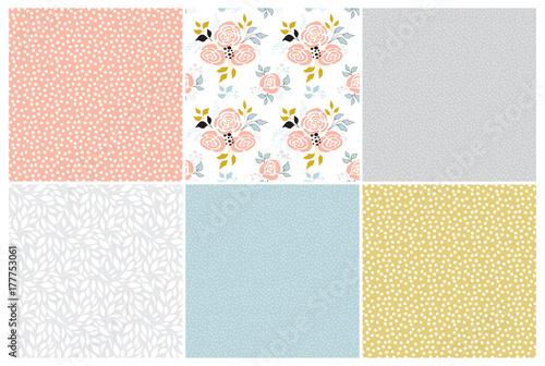 Poster Artificiel Floral seamless patterns set
