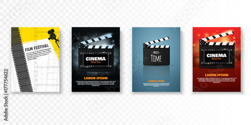 Set of vector cinema posters or flyers. Film festival promotion Canvas Print