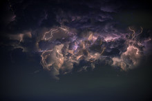 Lightning In Storm Cloud, Star On The Sky