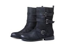 Black Female Boots Isolated On White Background