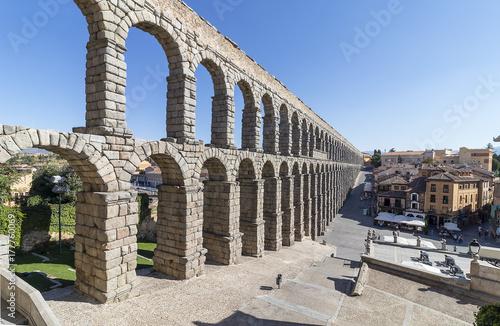 Panoramic view of Segovia roman aqueduct. Declared World Heritage Site