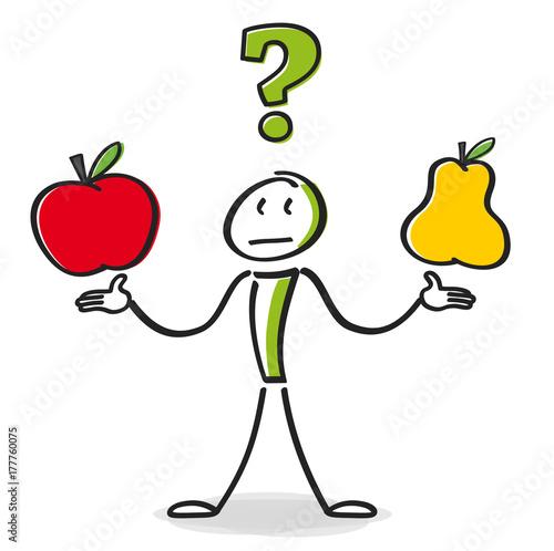 Strichmännchen Vergleich Äpfel und Birnen Canvas Print