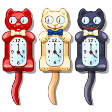 Set Of Wall Clocks With Funny ...