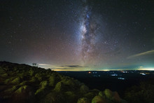 Milky Way Galaxy With Knob Stone Ground Is Name Lan Hin Pum Viewpoint At Phu Hin Rong Kla National Park In Phitsanulok, Thailand