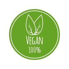 Vegan Vector Logo. Round Eco, Green Logo. Vegan Food Sign With Leaves. Tag For Cafe, Restaurants, Packagingdesign