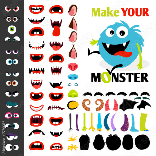 Make a monster icons set Fototapet
