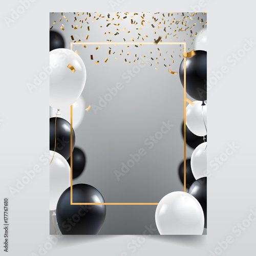 Cuadros en Lienzo Abstract ceremonial silver background with black and white balloons
