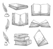 Vector Sketch Icons Of Old Boo...