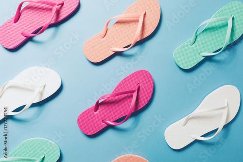 Flip flops on the blue background