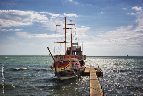 Moored Old Wooden Sailing Ship Buy This Stock Photo And Explore