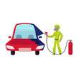 vector flat cartoon young man, boy mechanic in green protecting workwear painting red sedan car into blue with spray. Male portrait caucasian character isolated, illustration on a white background