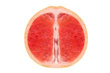 Red Pulp Of Juicy Grapefruit